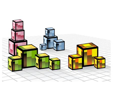 Abstract composition of a set of colored cubes Vector