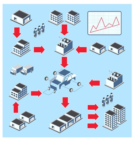 Schematic representation of the production cycle on a blue background Illustration