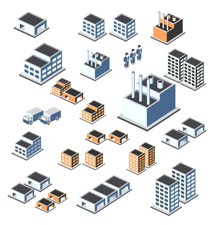 residential district: A set of urban and industrial buildings in the isometric