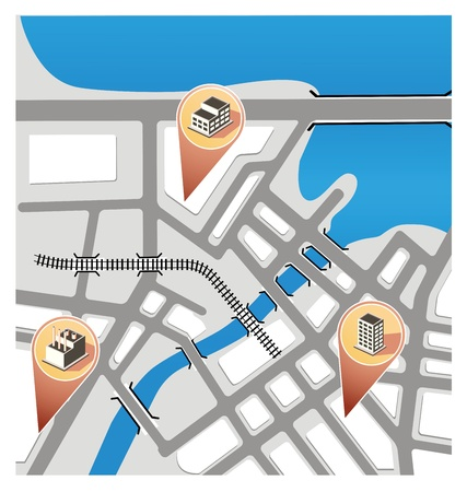 City Map with navigation icons. Vector