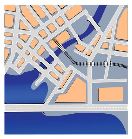 straight pin: Schematic representation of urban maps of the railway