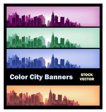 Different color options of banners on city theme Stock Vector - 12480820
