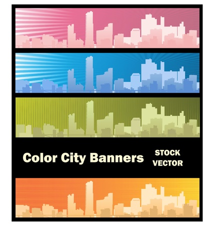 cityscape silhouette: Different color options of banners on city theme Illustration