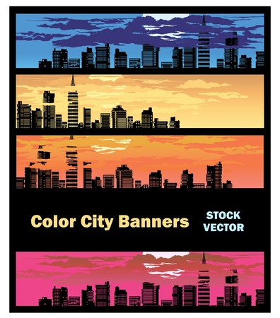 Different color options of banners on city theme Stock Vector - 12480884