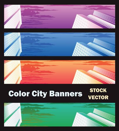 Different color options of banners on city theme Stock Vector - 12480857