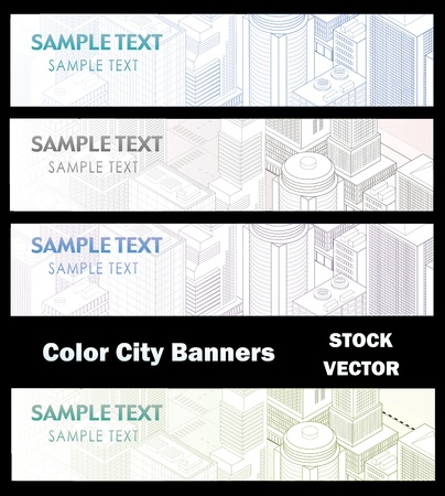 Different color options of banners on city theme Illustration