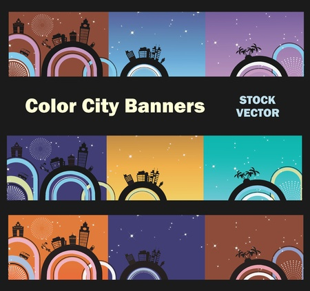 Different color options of banners on city theme Stock Vector - 12481304