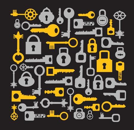 Klucze: Sylwetki zestaw kluczy i zamków na czarno Ilustracja
