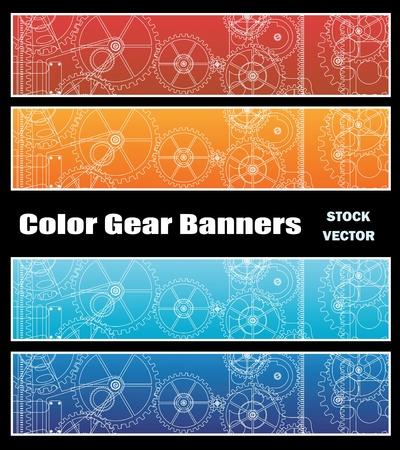 Opzioni di colore diverse per banner con ingranaggi Vettoriali