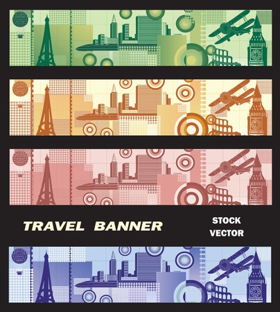 Banner on the theme of travel in different colors