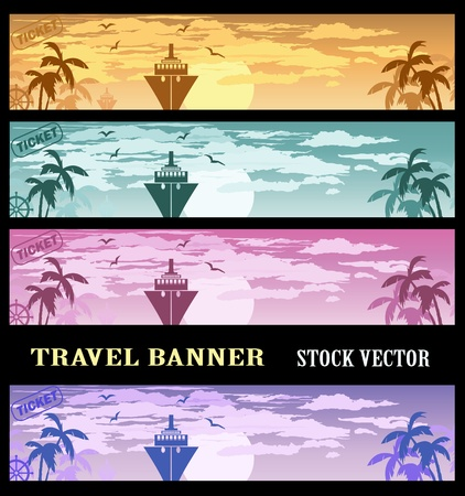 Colourful banners at a tourist theme Vector
