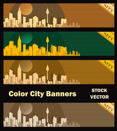 Different color options of banners on city theme Stock Vector - 12481015