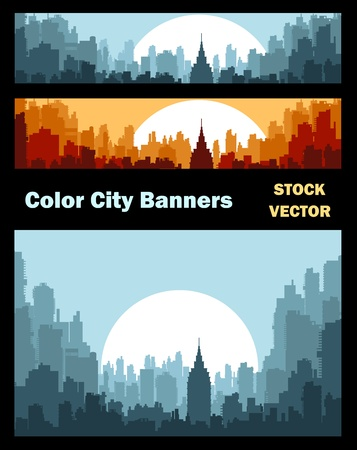 decor residential: Different color options of banners on city theme Illustration