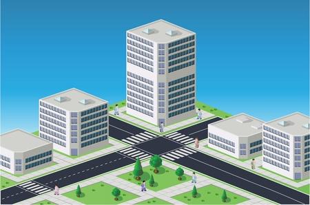 Immagine isometrica di un frammento della città su uno sfondo colorato Vettoriali