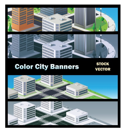 Vector banner of urban buildings in the isometric Stock Vector - 12481287
