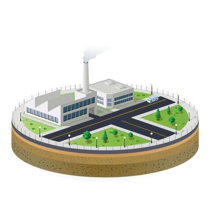 поколение: Промышленный завод в изометрической проекции с ландшафтом Иллюстрация