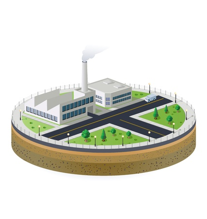 factory power generation: Industrial plant  in isometric view with the landscape