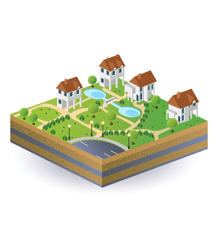 Perspective view of the village houses in the vector Stock Vector - 12481310