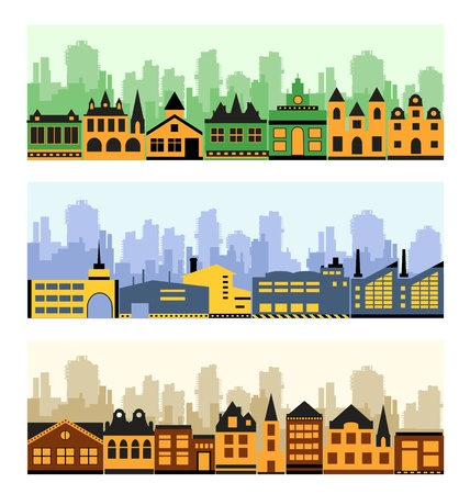 Vector image of a fragment of the city on a colored background Stock Vector - 12481012