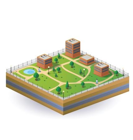Immagine isometrica di un frammento della città, su uno sfondo bianco