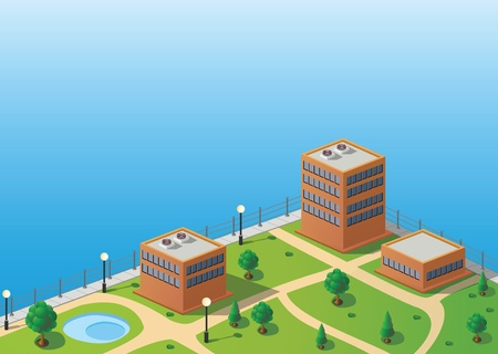 Isometric image of a fragment of the city skyline Vector
