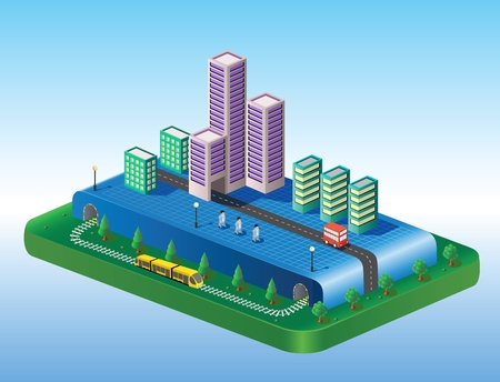 Isometric view of the city on the basis of color with a yellow train Vector