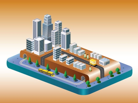 basis: Isometric view of the city on the basis of color with a yellow train