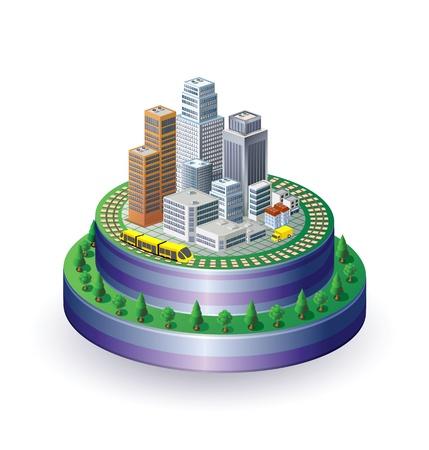 Vista isometrica della città su una base rotonda con un treno giallo Vettoriali