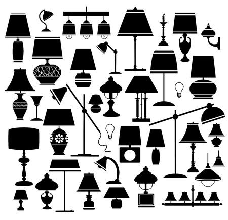 muebles antiguos: Un conjunto de siluetas de lámparas de uso doméstico y lámparas de pie Vectores