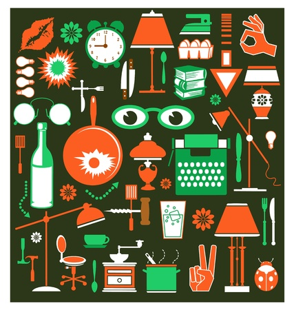 A set of household items of different colors on a black background Vector