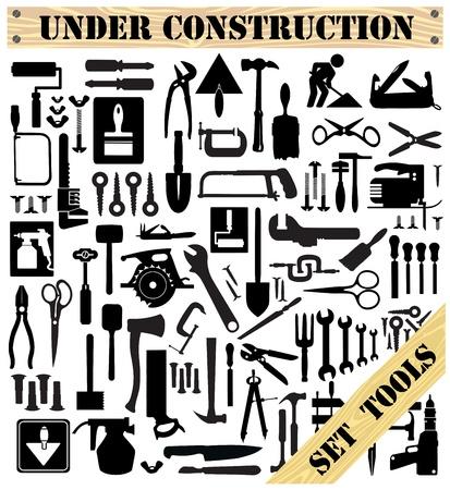 werkzeug: Eine Reihe von Tools Silhouetten in Schwarz auf wei�em Hintergrund Illustration