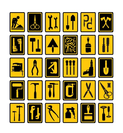 A set of tools silhouettes in black on a yellow background and black Illustration