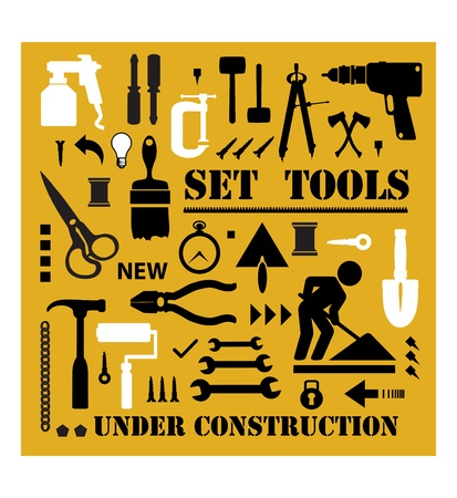 A set of tools silhouettes in black on a yellow background and black Stock Vector - 12481003