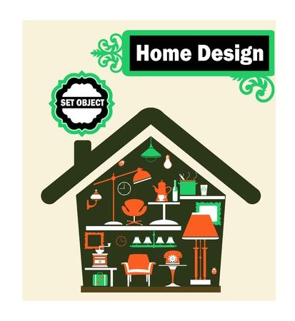 Representación esquemática de la casa con artículos para el hogar Ilustración de vector
