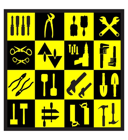 A set of tools silhouettes in black on a yellow background Stock Vector - 12480997