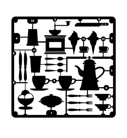 viande couteau: Un ensemble d'�l�ments isol�s appartenant au restaurant et caf� sur un fond blanc