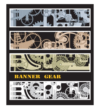 metal working: Different color options for banners with gears