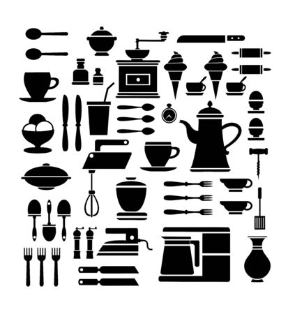 belonging: A set of isolated elements belonging to the restaurant and cafe on a white background