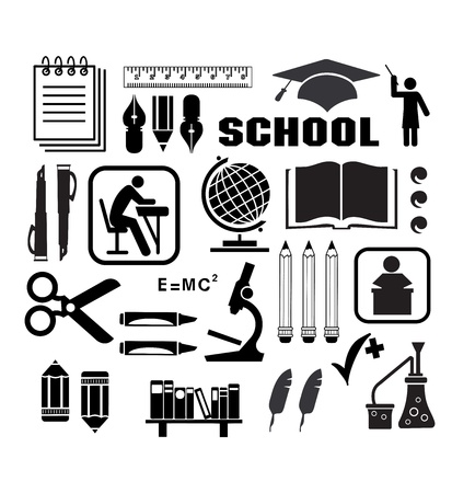 Image objects that are relevant to school Stock Vector - 12480996