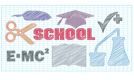 The stylized image of objects related to school Vector