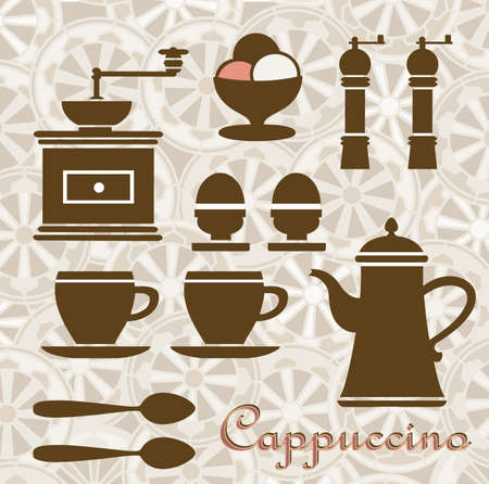 fantasia: Fantasia on a Theme of coffee and breakfast. Can be used as a menu. Illustration