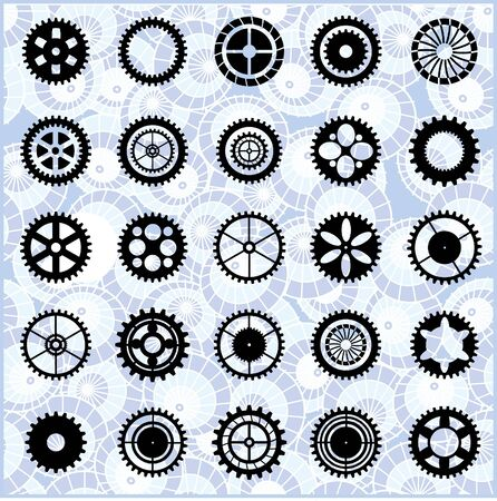 Black silhouettes of the gears on a blue background
