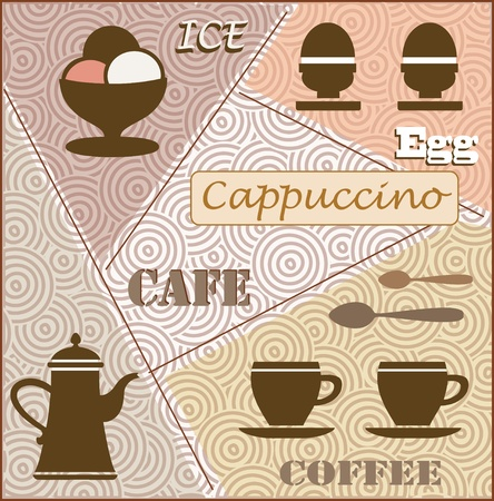 Fantasia on a Theme of coffee and breakfast. Can be used as a menu. Vector