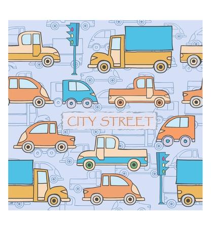 L'immagine stilizzata di trasporto in stile cartone animato Vettoriali