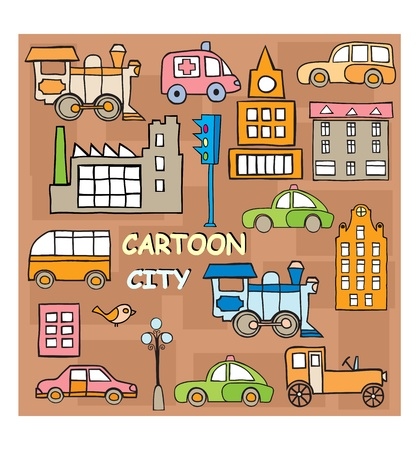 mode of transportation: The stylized image of the city in style cartoon