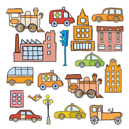 Het gestileerde beeld van het vervoer in de stijl van cartoon Vector Illustratie