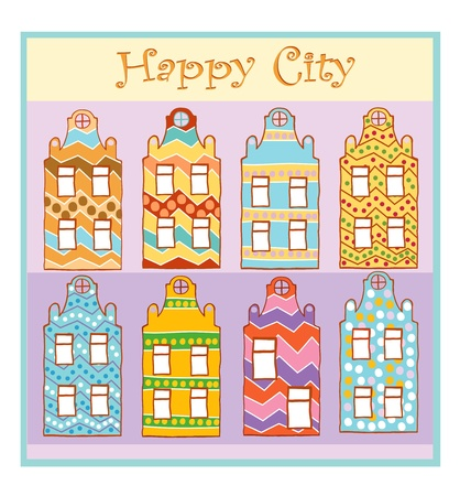 Colorful home happy for the people of the city Vector