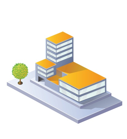 Image factory in isometric projection on a white background