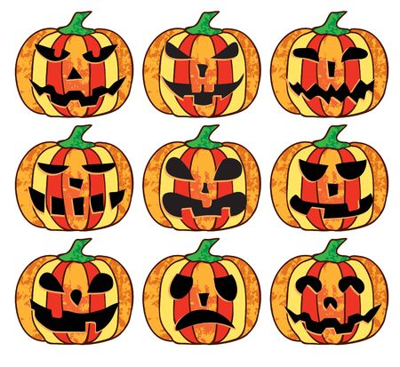 A set of scary halloween pumpkins on a white background Vector