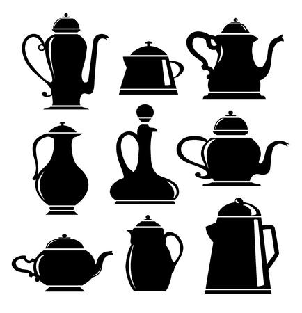 kettles: Un conjunto de siluetas en negro sobre blanco utensilios de cocina